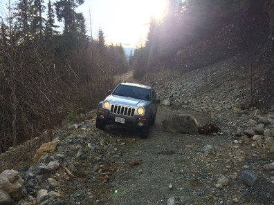 Vancouver Island logging roads, jeep liberty